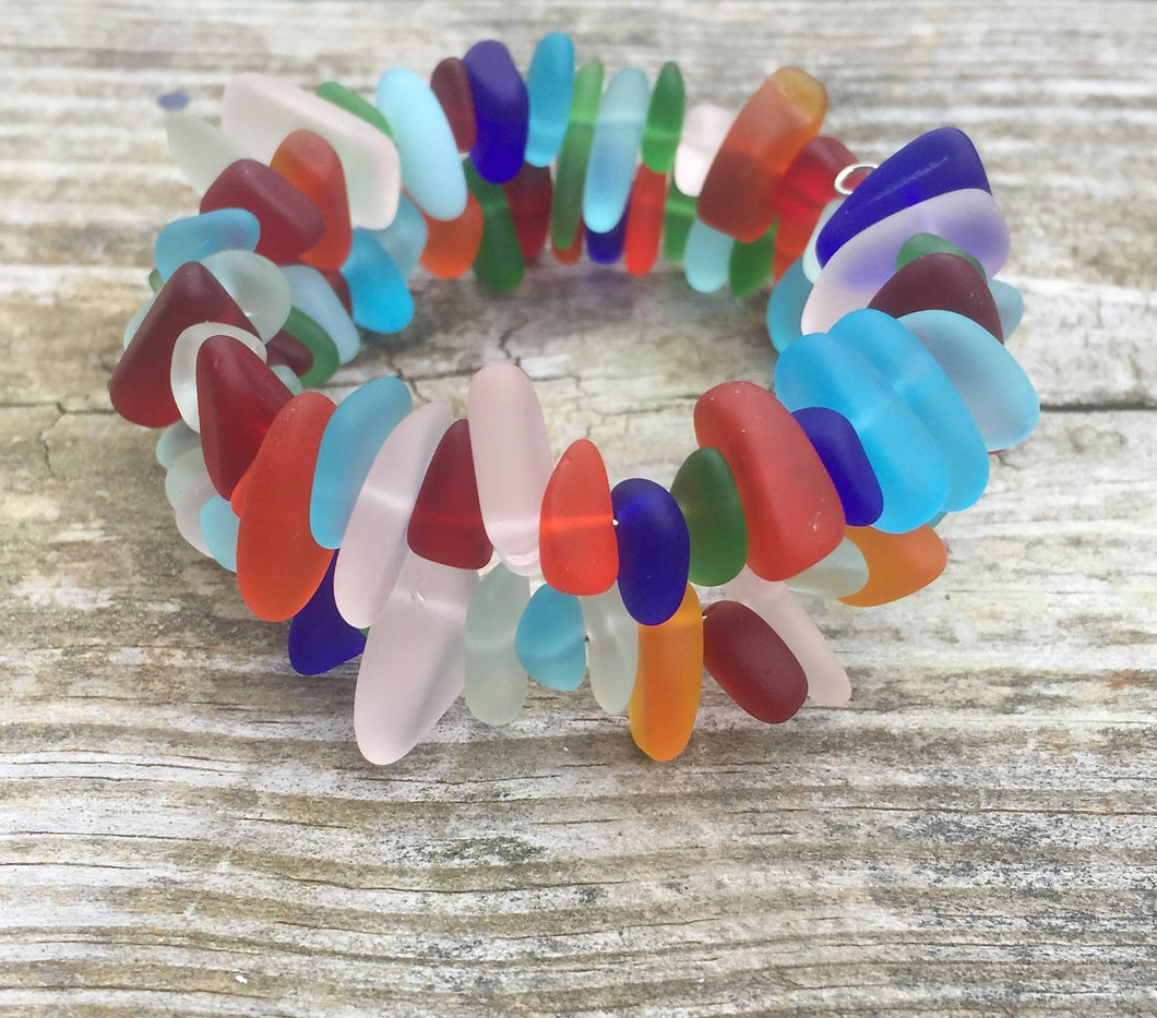 Multi-Colored Colorful Sea Glass Wrap Bracelet by Wave of Life