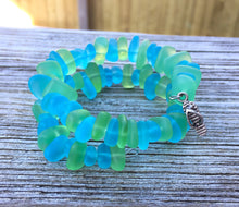 Sea Glass Wrap Bracelet In Light Green and Caribbean Blue by Wave of Life