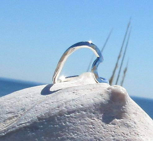 Wave of Life Ring in Sterling Silver and gently hammered taken by the sea