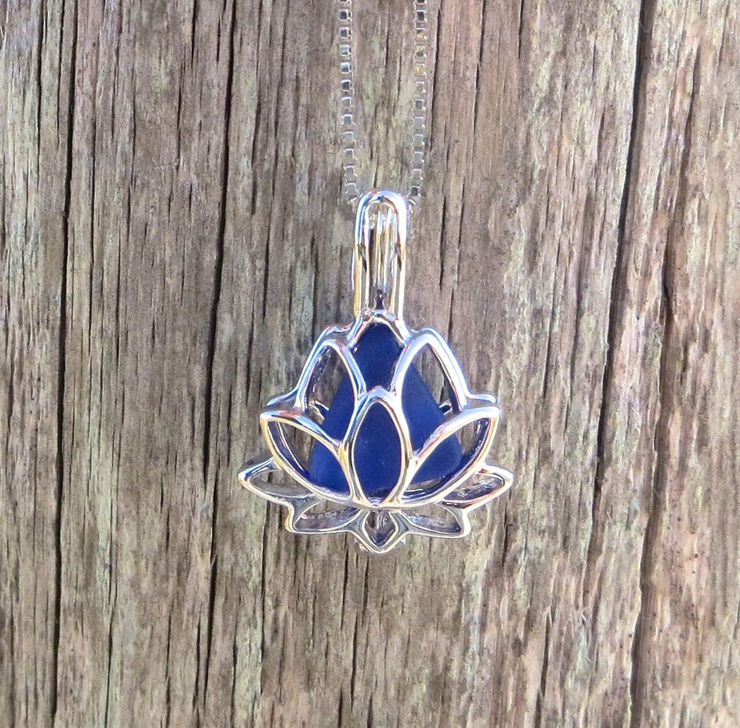 Lotus Locket Necklace with Sea Glass in Sterling Silver by Wave of Life