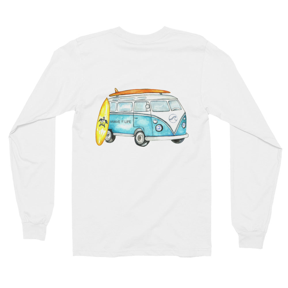 Long Sleeved Road Trip Shirt in White with Watercolor design on back.  Design is of a vintage volts wagon VW with surfboards
