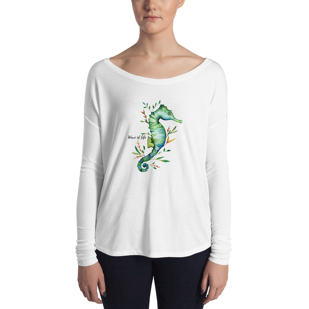Wild and Free Seahorse Long Sleeve Shirt by Wave of Life