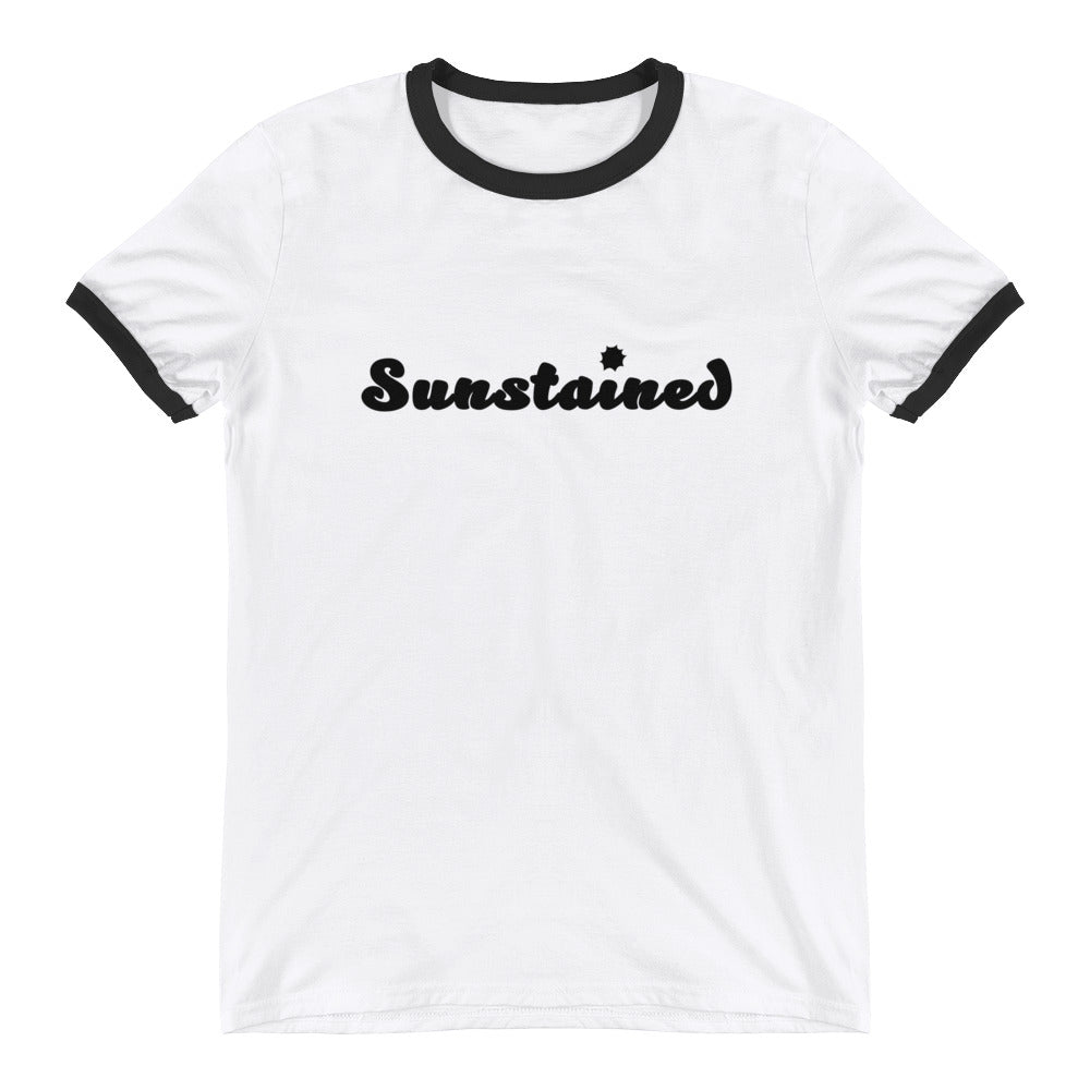 White Ringer Shirt with Black trim and the word Sunstained on the front