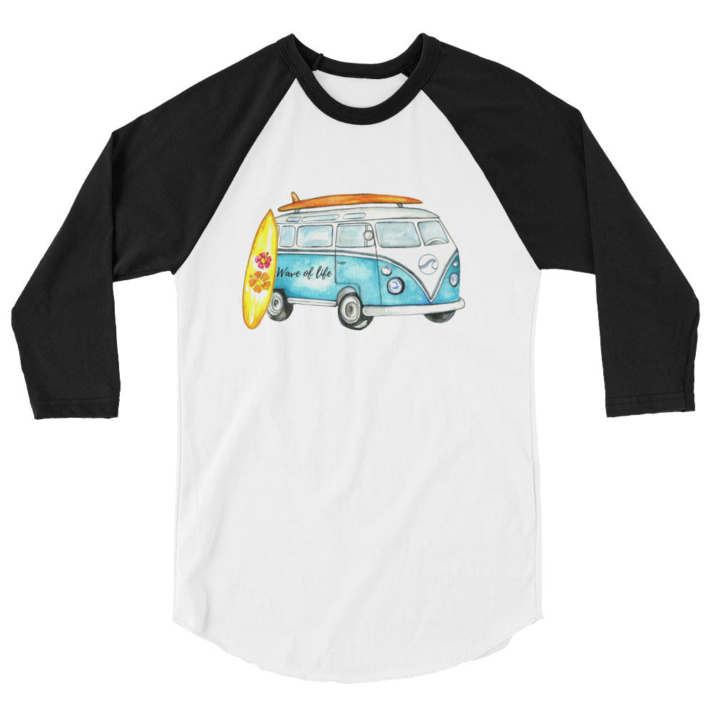 Road Trip 3/4 Sleeve Raglan Shirt (Unisex) by Wave of Life