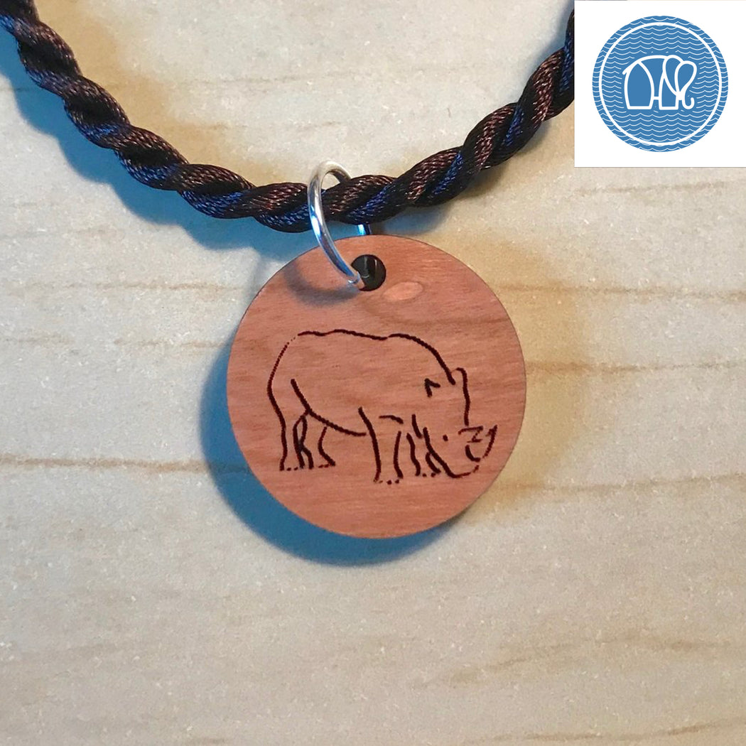 Engraved Rhino on Cherry Wood Pendant Necklace by Wave of Life