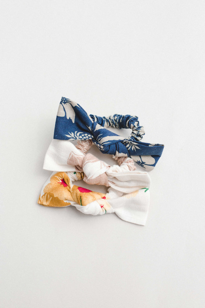 Floral Linen Bow Scrunchie Bundle - shoptula