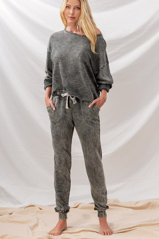 Acid Wash French Terry Joggers - shoptula
