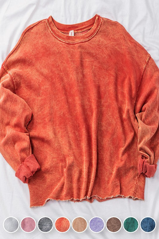 Acid Wash French Terry Pullover *pre-order* - shoptula