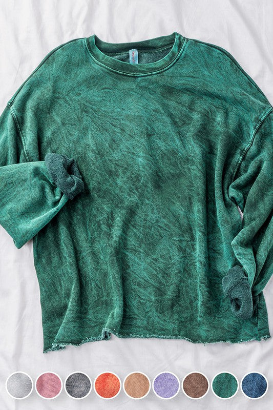 Acid Wash French Terry Pullover - shoptula