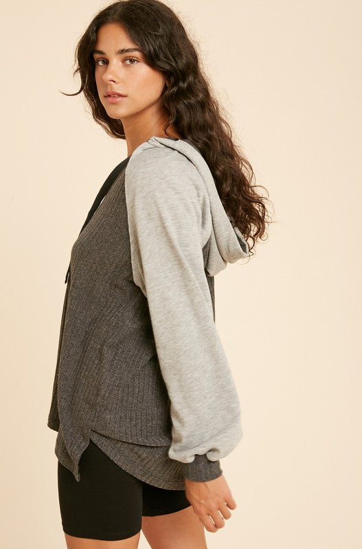 Taylor Ribbed Knit Contrast Hoodie - shoptula