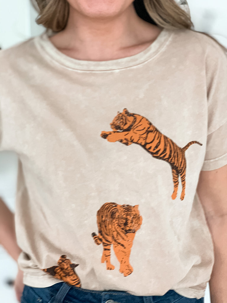 Dancing Tigers Acid Wash Tee - shoptula