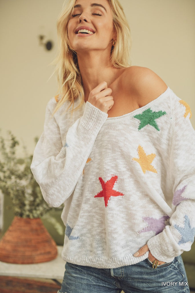 Rainbow Star Knit Pullover *presale* - shoptula