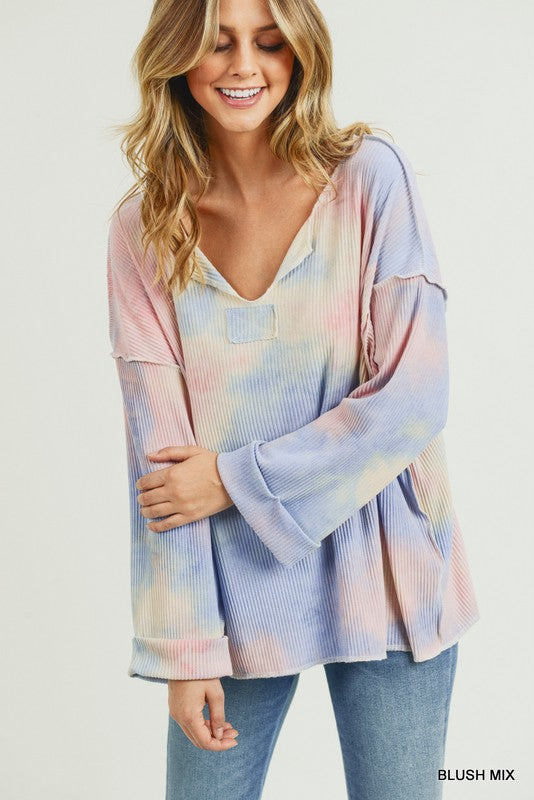 Ribbed Tie Dye Pullover - shoptula