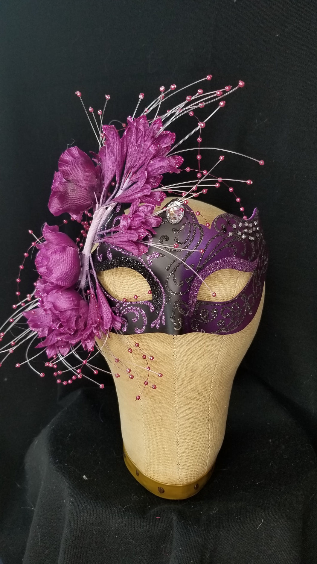 Flower and Beads Masquerade Mask