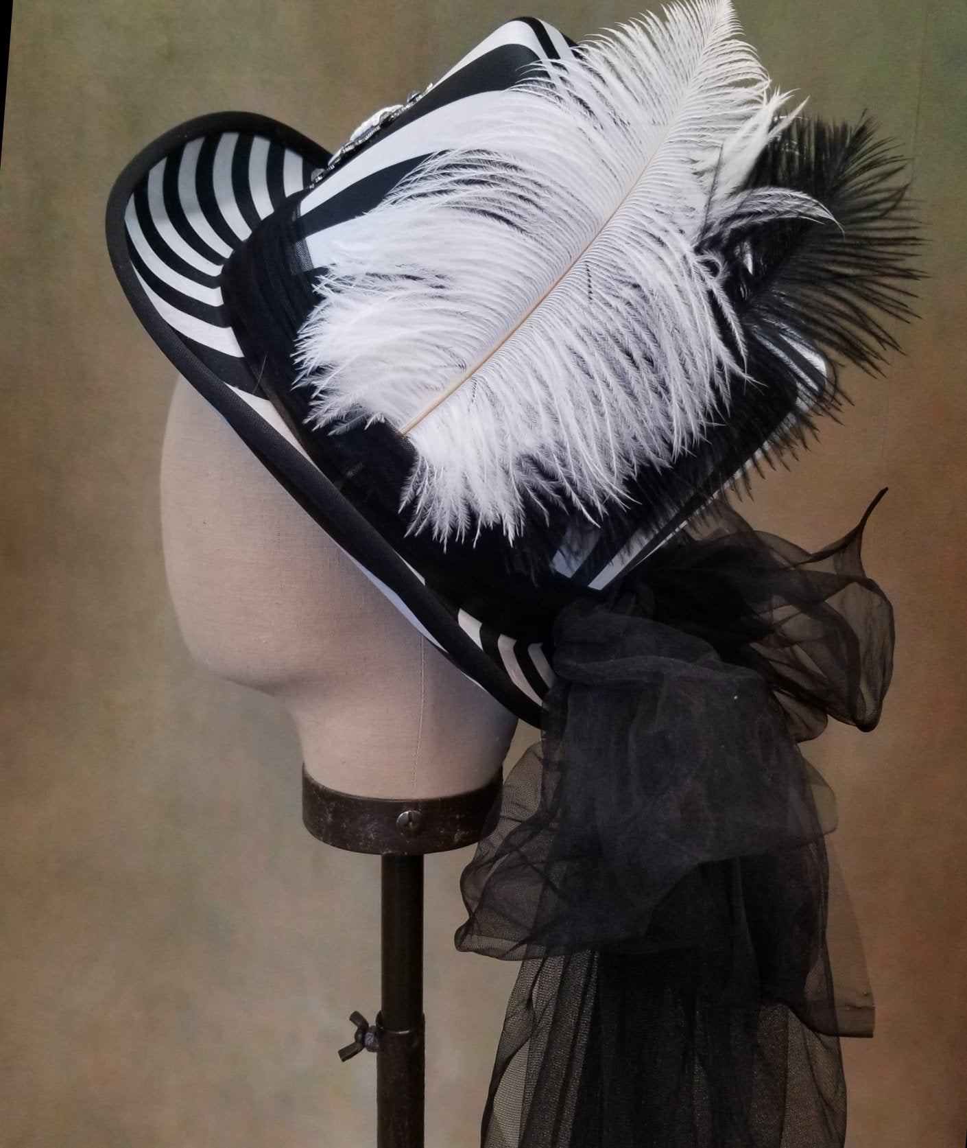 Black and White Victorian Top Hat