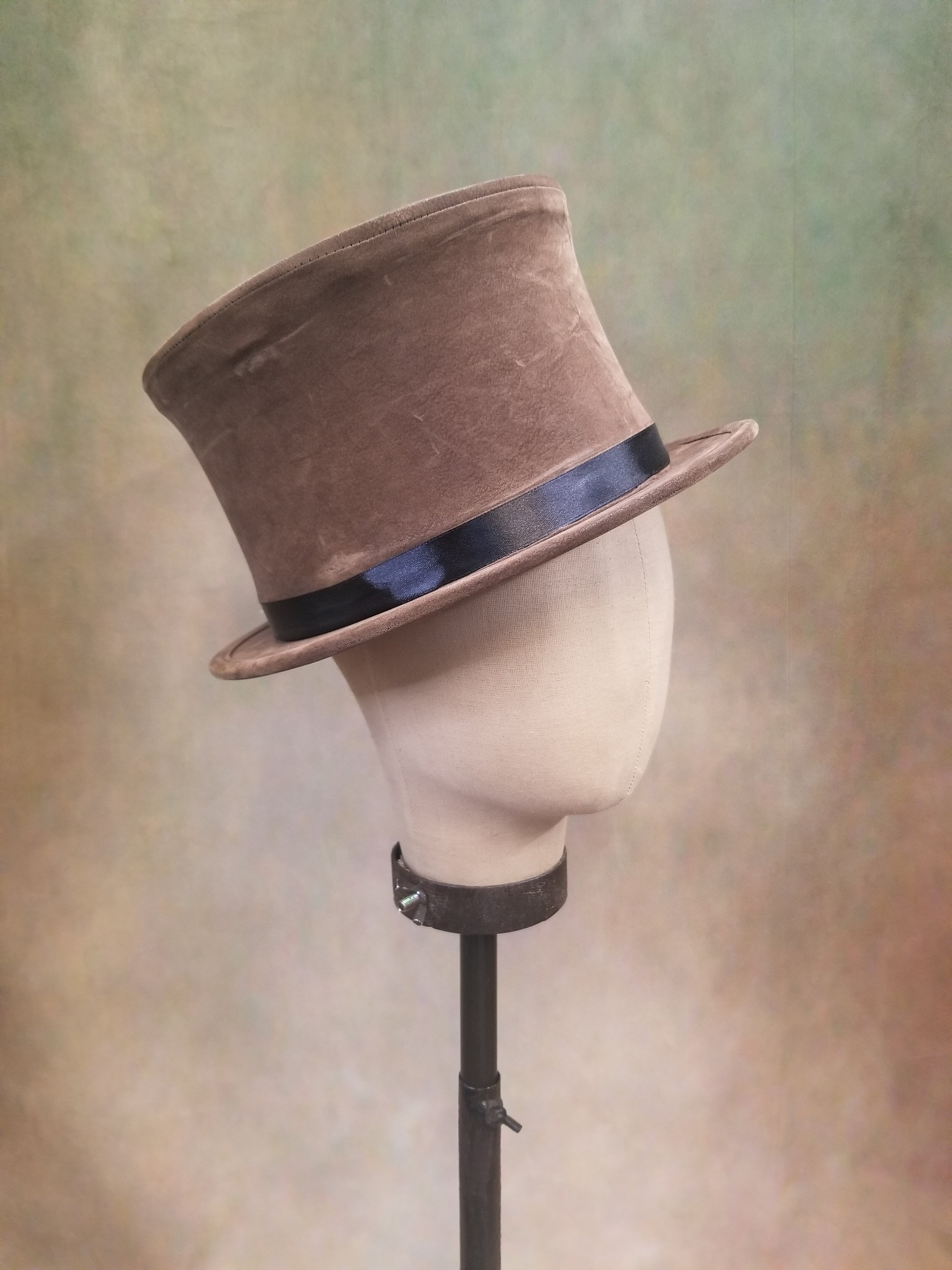 Collapsible Faux Suede Top Hat