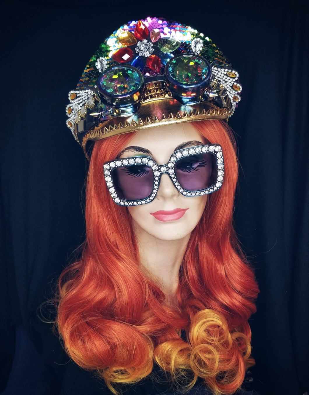 Sequin Hat with Kaleidoscope Goggles