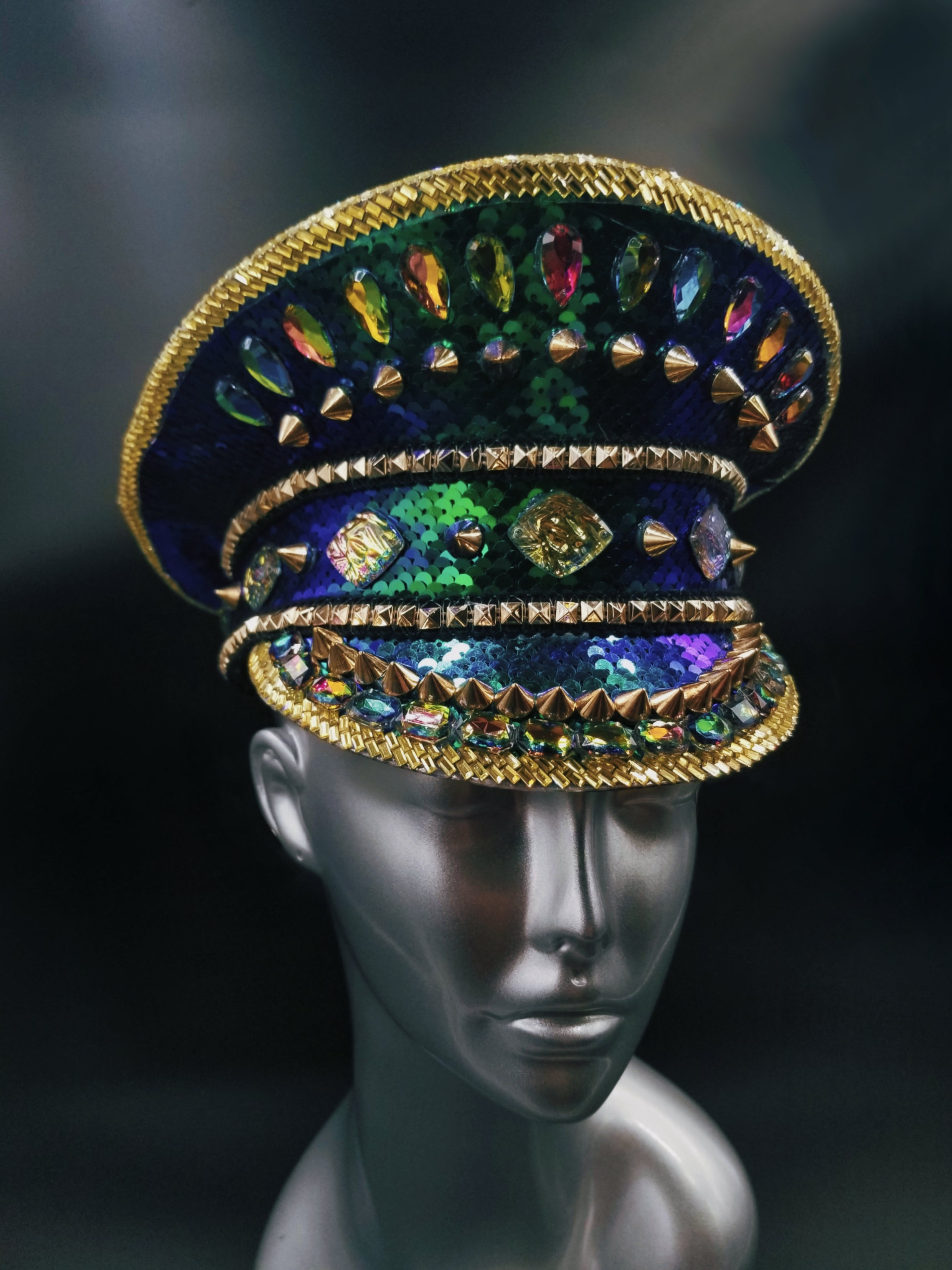 Blue/Green Irisdescent Sequin Hat