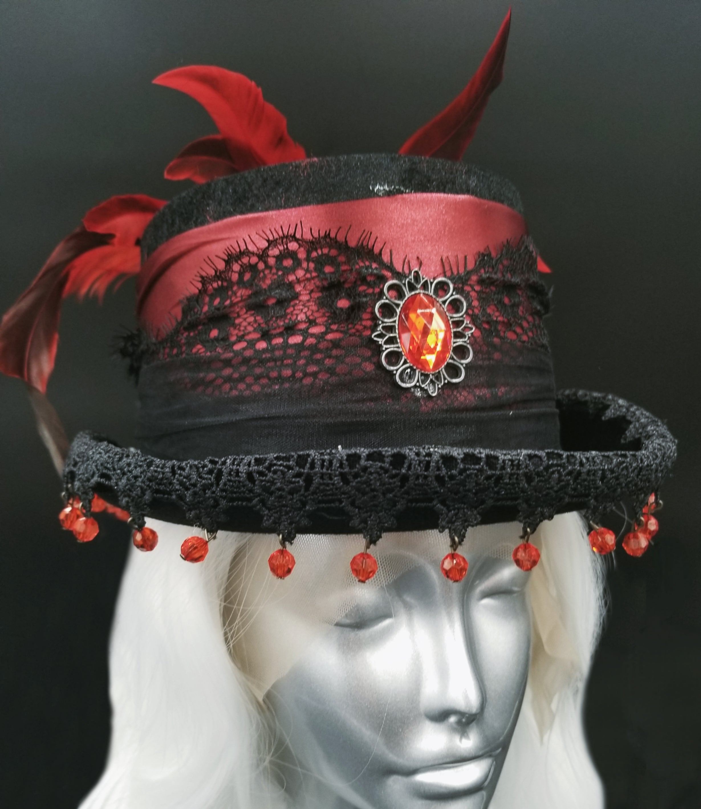 Black and Red Lace Hat