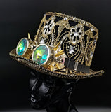 Black and Gold Top Hat with Goggles