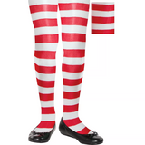 Children's Red and White Striped Tights