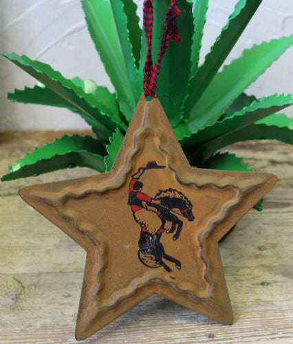 Western Metal Star Buckin' Bronc Ornament