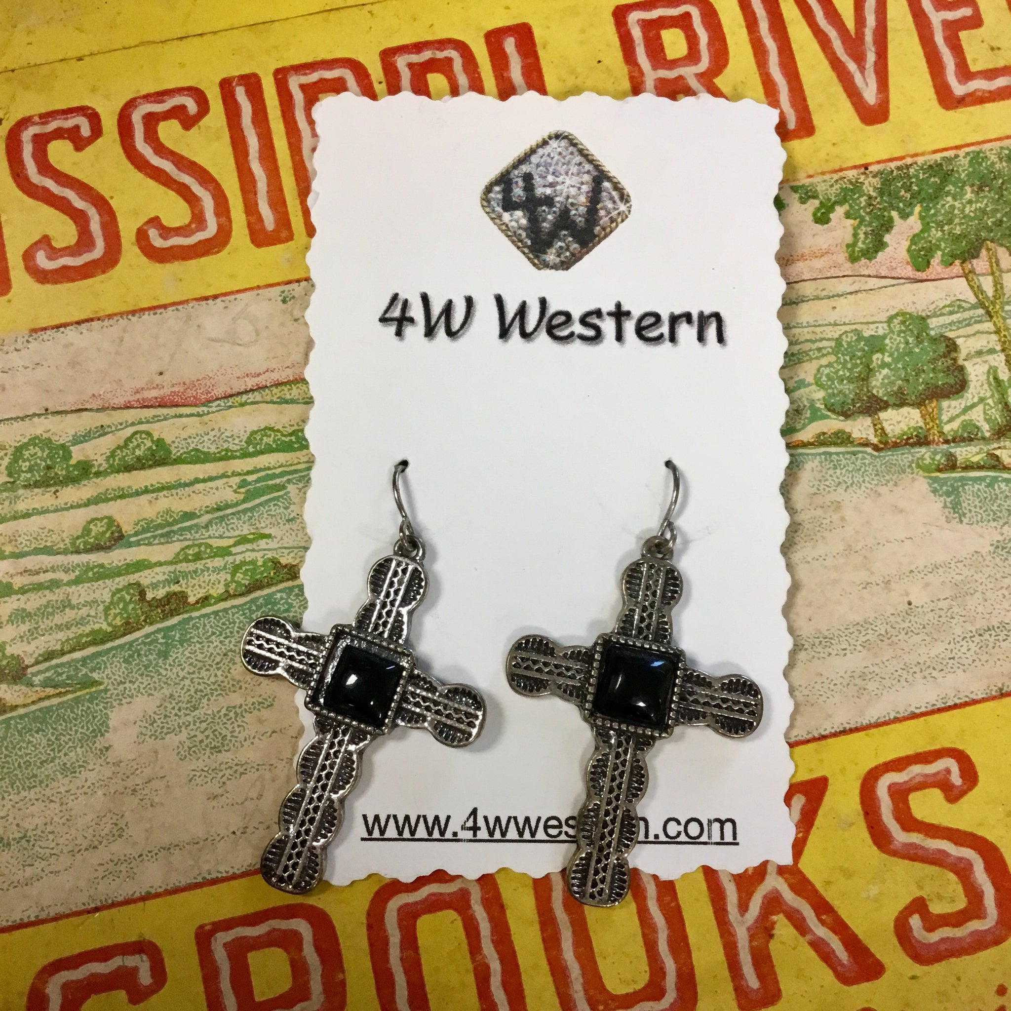 Small Black Cross Earrings