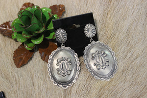 STERLING SILVER Stamped Concho Earrings