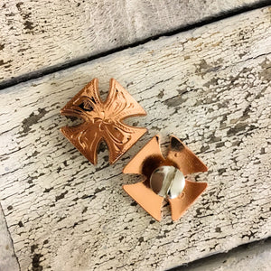 Small Shinny Copper Cross Concho