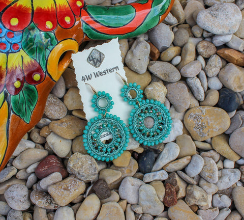Turquoise Crystal Bead Earrings
