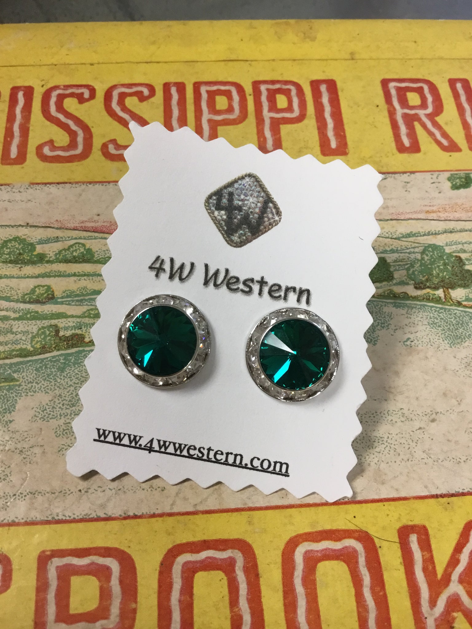Emerald Swarovski Post Earrings