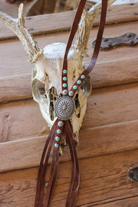 Leather Concho Bolo Necklace
