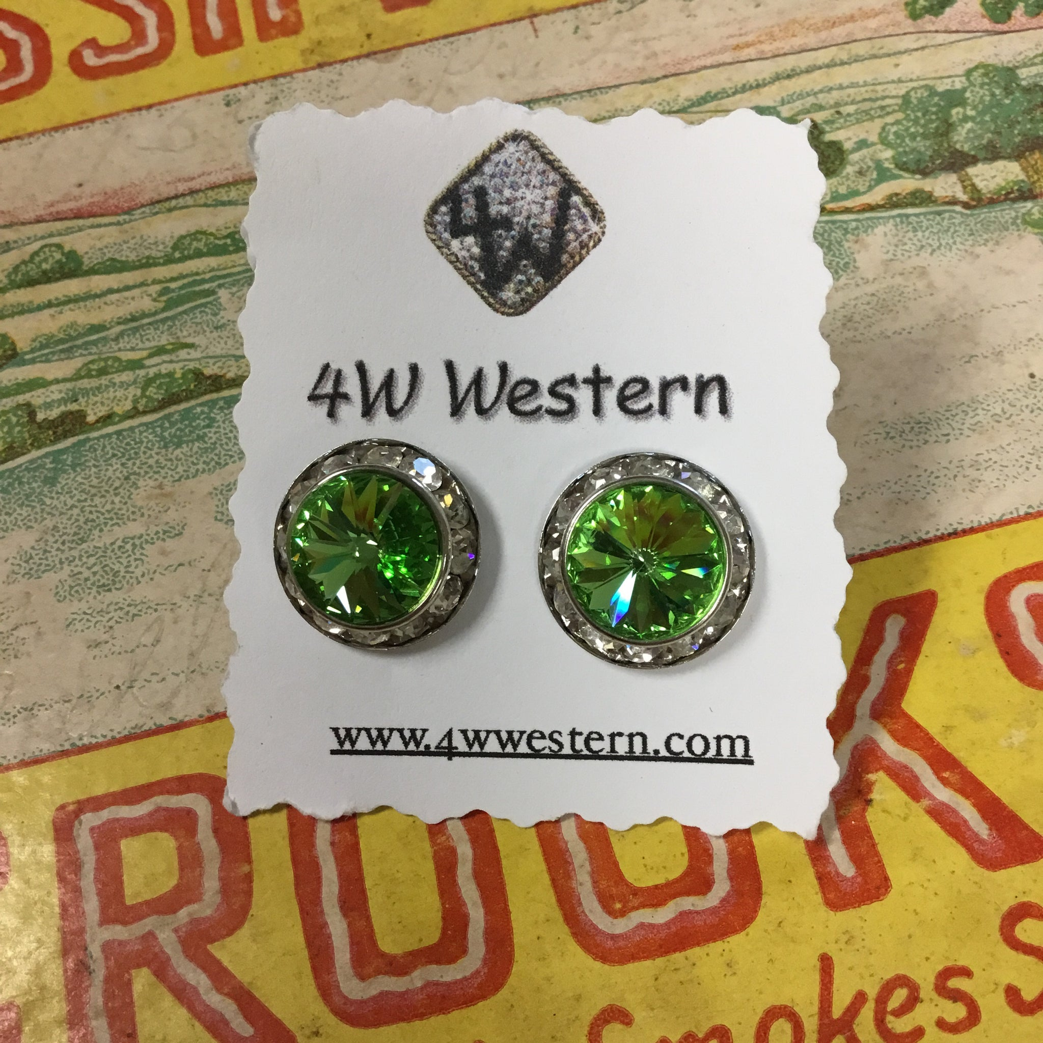 Green Swarovski Crystal Post Earrings
