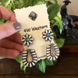 White Turquoise Post Drop Earrings