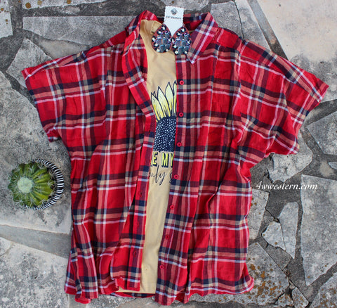 Red-Tan Plaid Tunic-Top-Kimono