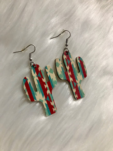 Wood Cactus Earrings