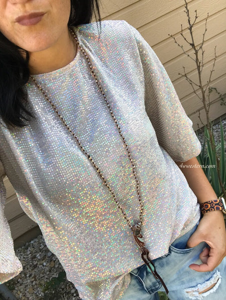 Dusty Pink Sequin Top