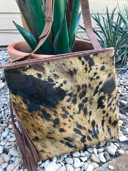 Acid Wash Cowhide Purse