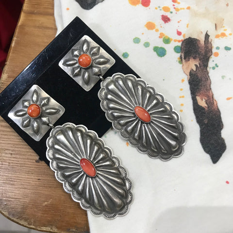 Handmade Sterling Silver Coral Earrings