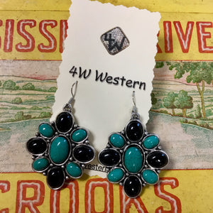 Turquoise-Black Earrings