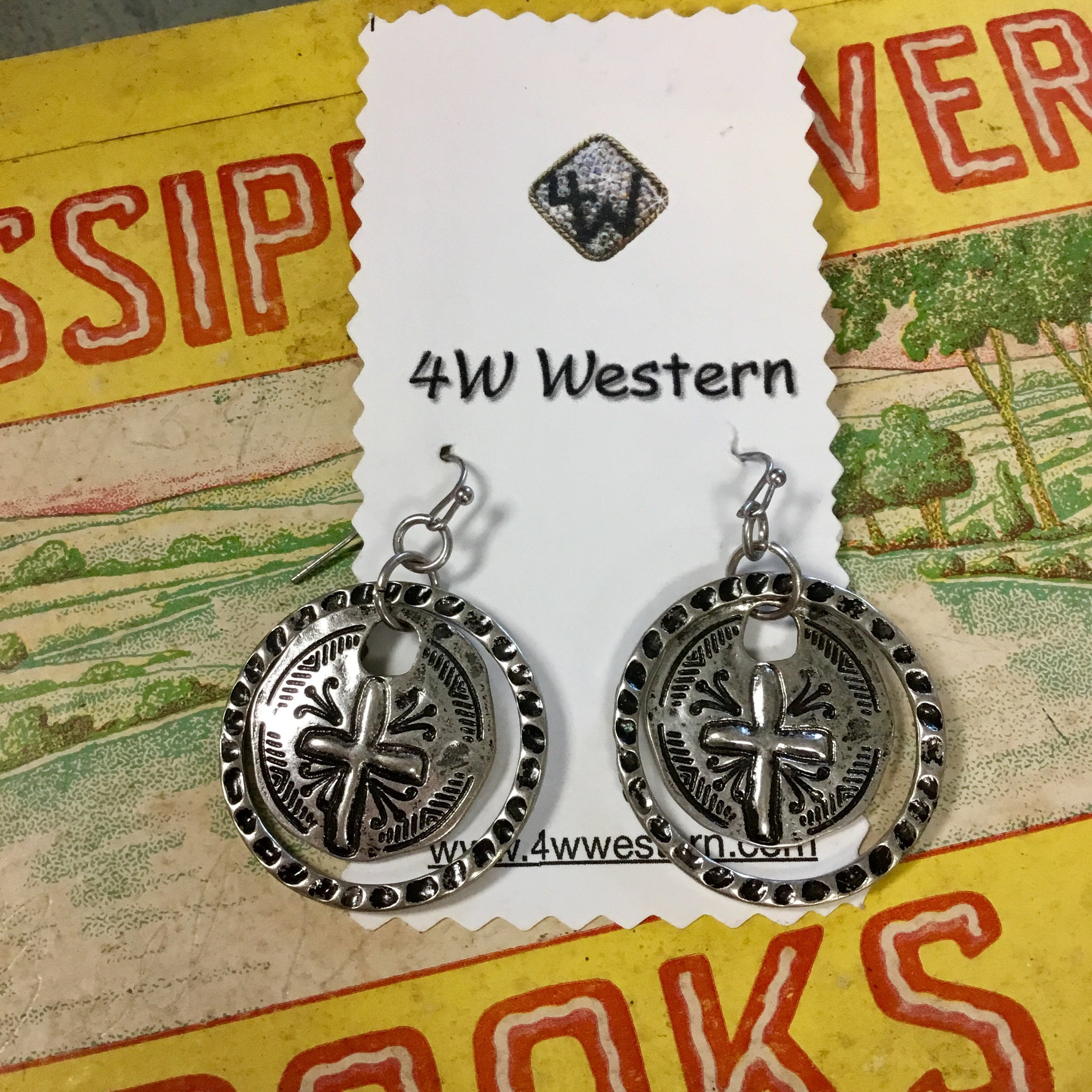 Round Cross Stamped Earrings
