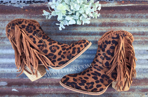 Cheetah Fringe Booties