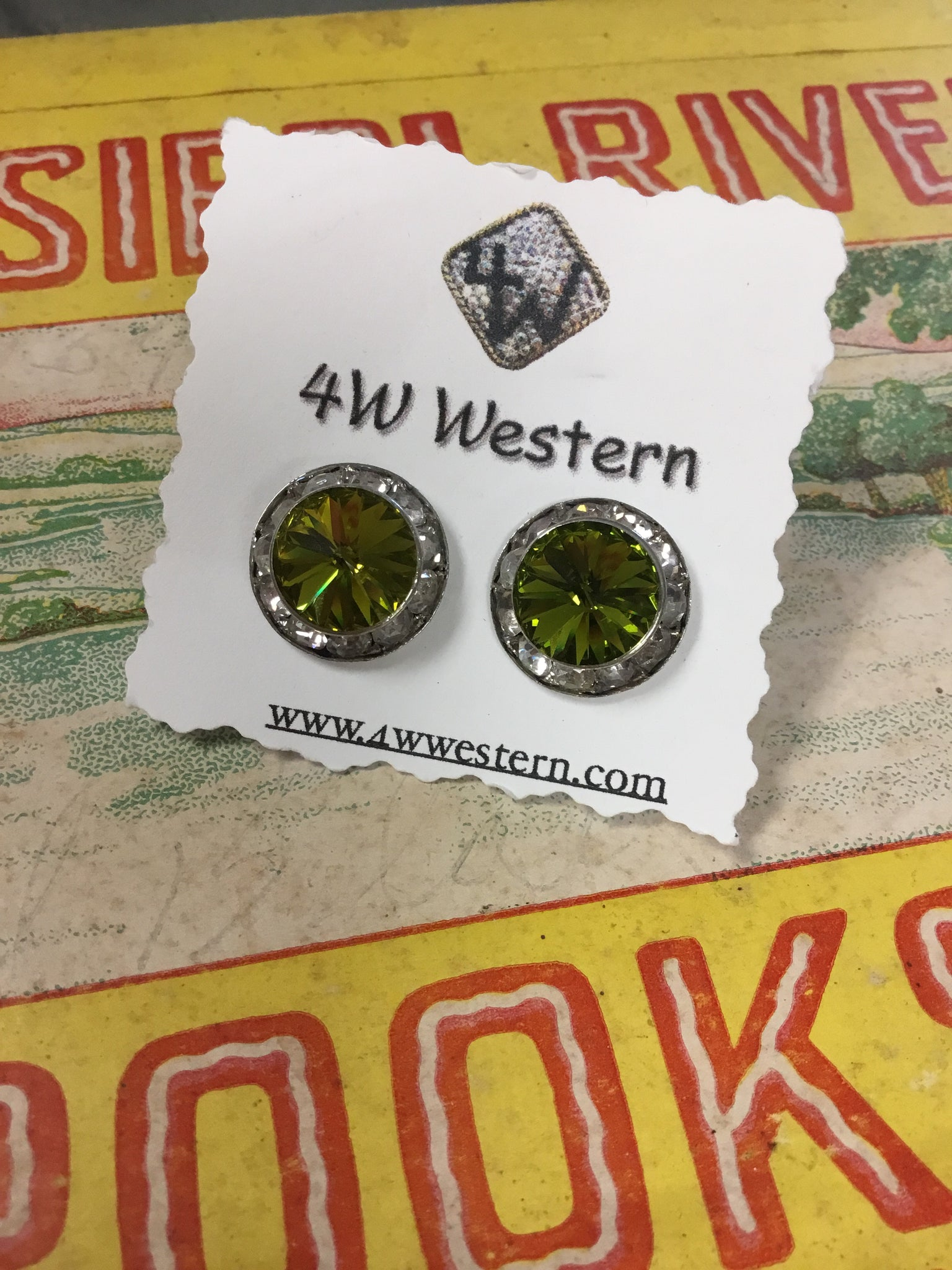 Olive Swarovski Crystal Post Earrings