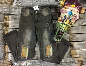 Olive Serape Patch Jeans