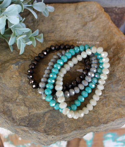 Multi-Teal 4Pc Crystal Bracelet Set