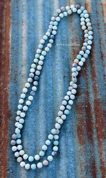 "Matte Finish 60"" Turquoise Necklace"