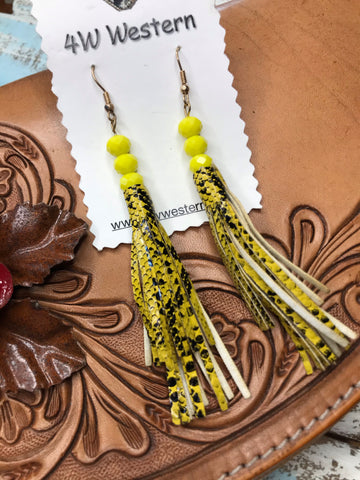 Yellow Snake Tassel Earrings