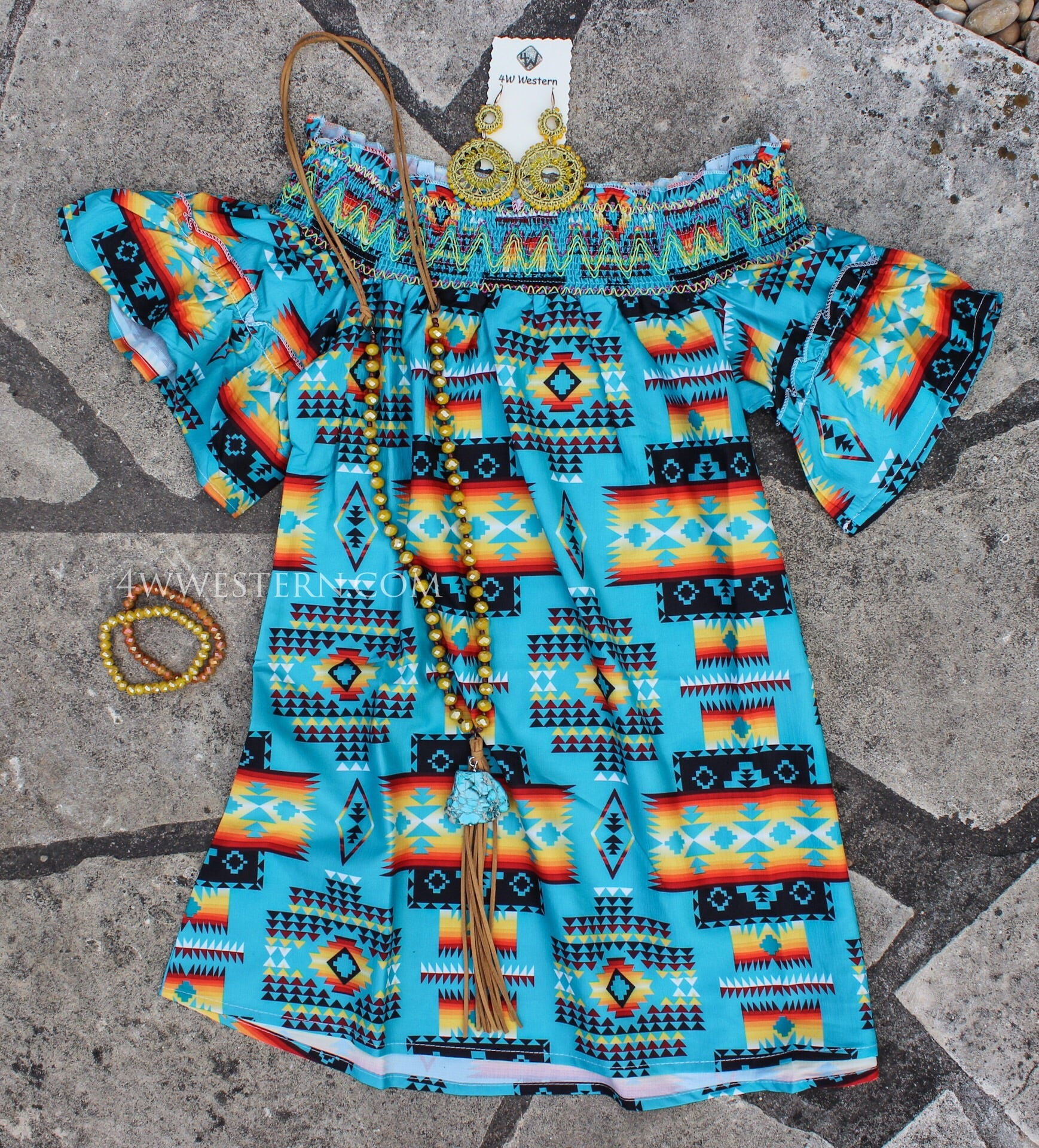Turquoise Tribal Off The Shoulder Top