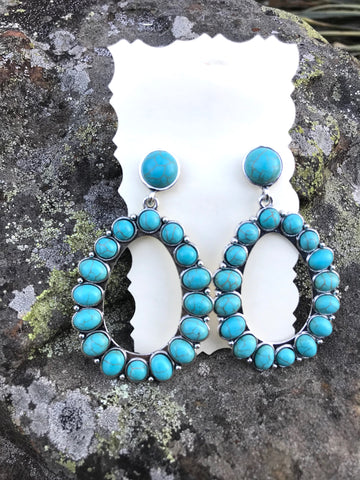 Turquoise Post Hoop Earrings