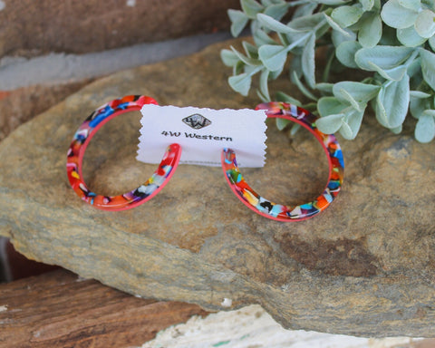Multi-Color Plastic Hoop Earrings